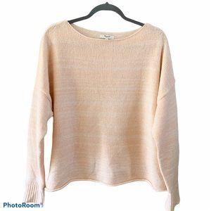 Madewell Boatneck Peach Rolled hem Sweater L